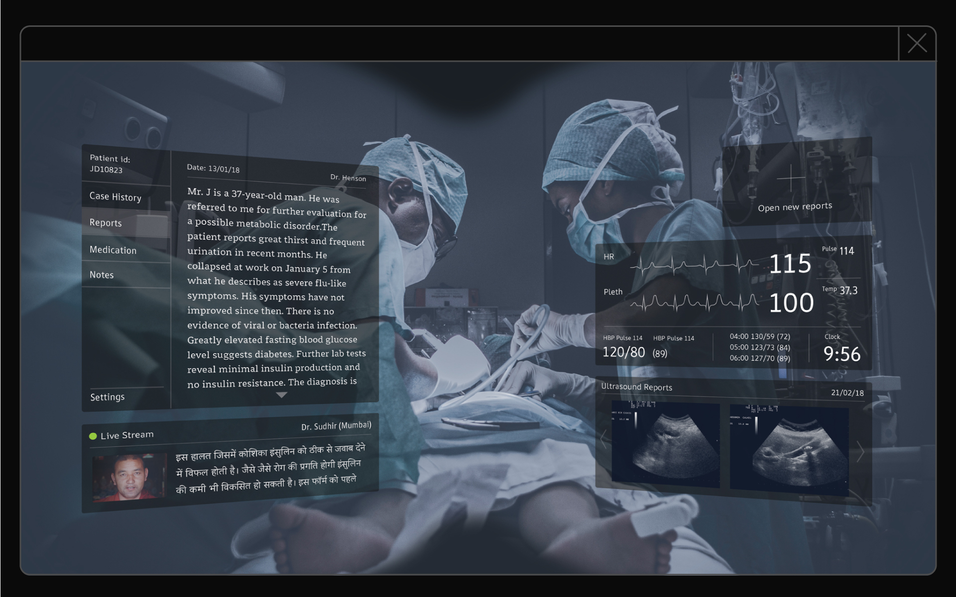 Mockup of ARone Font in Operating theater. First AR Font designed for headsets.